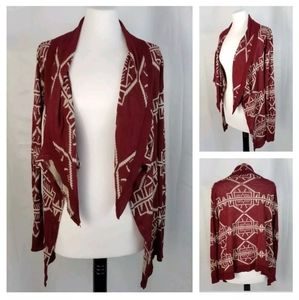 Say What M Burgundy Boho Aztec Open-Front Cardigan